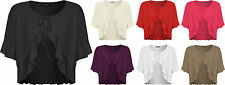 New Plus Size Womens Plain Tie Up Short Sleeve Ladies Frill Shrug Top