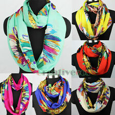 Fashion Colorful Sunflower Infinity 2Loop Cowl Eternity Endless Casual Scarf New