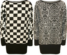 New Womens Black White Celeb Checked Paisley Print Batwing Plus Size Ladies Top