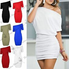 Womens Ladies Off The Shoulder Slash Neck Batwing Side Ruched Bodycon Mini Dress