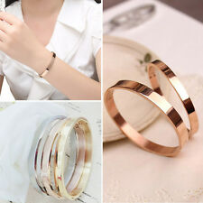 Gold-plated Stainless Steel Women's Cuff Bangle Jewelry Crystal Bracelet