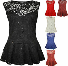 New Plus Size Womens Lace Sequin Ladies Sleeveless Peplum Frill Vest Top