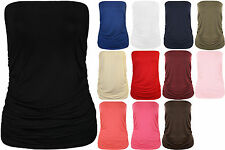 New Plus Size Womens Plain Bandeau Strapless Ladies Boob Tube Top