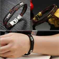 Fashion Men's Braided Leather Stainless Steel Cuff Bangle Bracelet Wristband FT