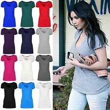 Womens Jersey Plain V Plunge Neck TShirt Ladies Cap Sleeve Stretchy Tee Top 8-14
