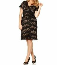 Marina NEW Black Lace Mother of Bride Groom Semi Formal Dress Cocktail Plus 14w