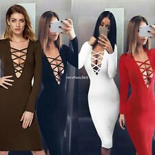 Sexy Women Long Sleeve Cross Bandage V-Neck Bodycon Pure Color Pencil Dress N4U8