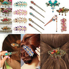Colorful Women Retro Crystal Butterfly Flower Hairpins Hair Stick Hair Clip CH A