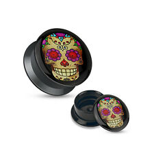Ear Piercing Plugs - Pair Violet Sugar Skull Black Acrylic Stash Screw Fit Plugs