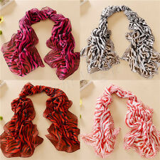Women Lady Chiffon zebra-stripe Long Soft Neck Scarf Shawl Scarves Stole Wraps