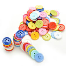 100Pcs Multicolor Sewing Plastic Round Buttons 4 Holes for Kid DIY Crafts D18 MO