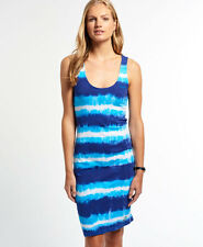 New Womens Superdry Beach Tie Dye Midi Dress Navy Stripe Tie Dye