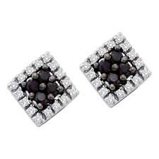 10kt White Gold Womens Round Black Colored Diamond Square Cluster Earrings 1/4
