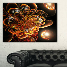 Dark Orange Fractal Flower Digital Art - Large Floral Canvas Art Print