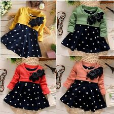 New Baby Girls Elegant Polka Dot Dress Long Sleeve Princess Dress With Flowers