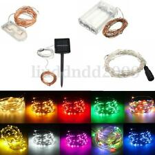 1/3/5/10M Battery/Solar/12V LED Silver Copper Wire Fairy String Light Xmas Party