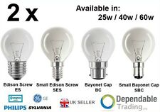 2 x BRANDED GOLF BALL LIGHT BULBS in 25W / 40W / 60W - SES SBC ES BC - LAMPS