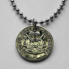 Haiti 5 centimes coin pendant Haitian necklace cannons Port-au-Prince n001510