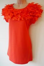 Womens Tunic Top Mini Dress Size 8 10 12 New Ladies Coral Red Frilled Necked