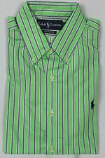 Ralph Lauren Green Blue Striped Classic Dress Shirt Navy Pony NWT