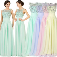 BEADED Long Party Prom DRESS Bridesmaid Wedding Formal Evening Ball Gown Pageant