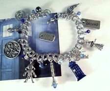 Silver Dr Charm Bracelet Sonic Dalek Police Phone Box Doctor Who Time Travel Key