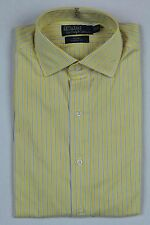 Ralph Lauren Yellow White Blue Stripe Classic Regent Dress Shirt NWT