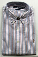 Ralph Lauren Blue Burgundy Striped Classic Fit Oxford Dress Shirt NWT