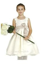 New Flower Girls Ivory Dress Christmas Choose your Sash Color Party Fancy 1087C