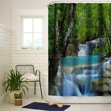 3D Waterfall Design Fabric Bath Curtains Mouldproof Bathroom w/Hooks I8M5