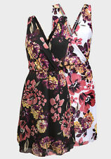 New Women's Pretty White / Black Floral Print V-Neck Chiffon Voile Dress 10 - 18