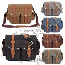 Canvas Leather Shoulder Bag Messenger Bags Work Travel Rucksack for Men Women
