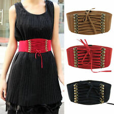 Fashion Women Elastic Buckle Wide Waistband Retro Lady Corset Stretch Waist Belt