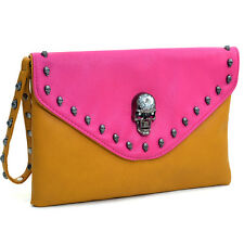 New Dasein Womens Handbag Evening Bag Skull Studded Two-Tone Envelope Clutch