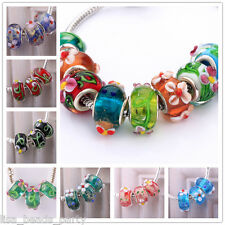 10pcs 15x9mm Round Flowers Lampwork Glass Loose Big Hole Beads European Chain
