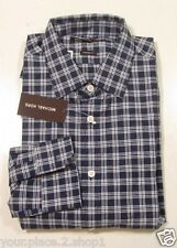Michael Kors Men's Navy Blue Check Tailored Fit Casual Button Front Shirt