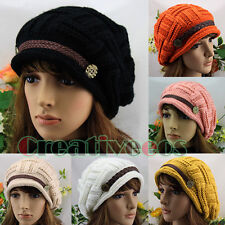 Chic Beanies Women's Buttons Strap Cap Winter Girl's Wool Knit Crochet Warm Hat