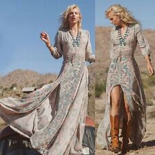 Boho Womens Floral V Neck Long Maxi Dress Summer Beach Party Sundress UK 8-18