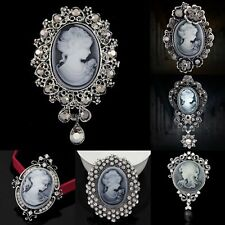 HOT Women Vintage Crystal Victorian Cameo Brooch Pin Pendant Party Jewelry