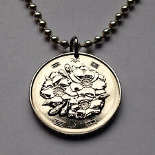 Japan 50 Yen coin pendant Japanese necklace Cherry blossom flower Nippon n000087