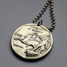 Colombia 10 pesos coin pendant Colombian necklace Horse Back Rider war n000700
