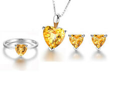 18k White Gold GP Austria Crystal yellow topaz Necklace Earrings Ring Set S160b