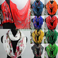 New Fashion Butterfly Print Wrinkle Long Scarf/Infinity Loop Cowl Eternity Scarf