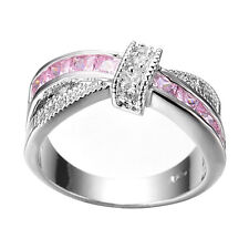 Size 5-10 Pink Sapphire CZ Cross Wedding Ring Men/Women's 10KT White Gold Filled