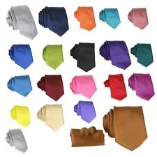 New Mens Silk Satin Tie Set Box Metallic Matching Cufflinks Handkerchief Wedding