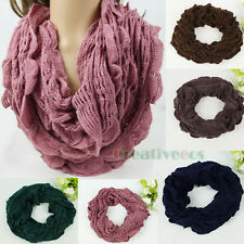 Soft Wool Knit Ruffle Trim Shawl Infinity Loop Cowl Eternity Solid Color Scarf