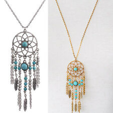 Fashion Vintage Women Turquoise Feather Pendant Long Sweater Chain Necklace Gift