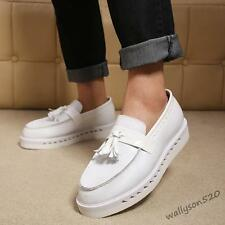 Fashion Mens Leather Casual Tassel Platform Round Toe Slip On loafer shoes