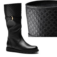 36.5 & 39.5 NEW GUCCI Black Embossed GG Microguccissima TYLER Leather FLAT BOOTS