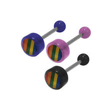Rainbow Logo Barbell Tongue Ring